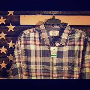NWT Buckle Brand Flag Anthem Plaid Shirt